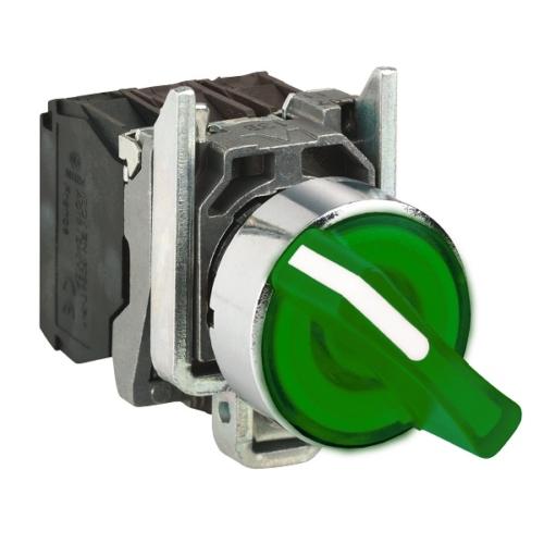 کلید سلکتوری چراغ دار LED سبز رنگ اشنایدر